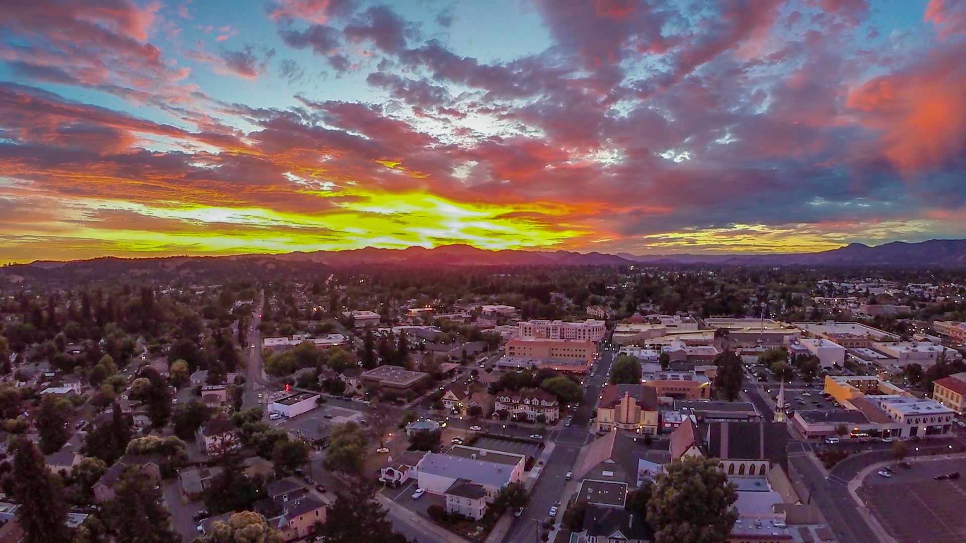 Aerial Sunset over downtown Napa